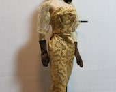 1960's Gold Sequin knit cocktail dress Set for  Severine, Barbie, Grace and Pals by RETROS