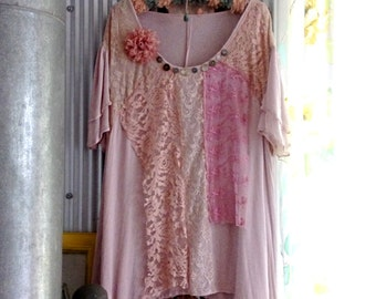 Romantic Chiffon & Lace top, Large, Lacy, Soft Pink, Floaty, Mother Of Pearl Buttons, Flower Clip or Brooch, Pretty, Boho