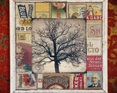 Tree of Life. Oak Tree. Original Encaustic Mixed Media Art. Cigar Labels. Wall Art. Wall Decor. EASTERN OAK with LABELS by Mikel Robinson