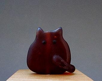 Beach Glass Cat Bead Handmade Lampwork - Rupert FatCat