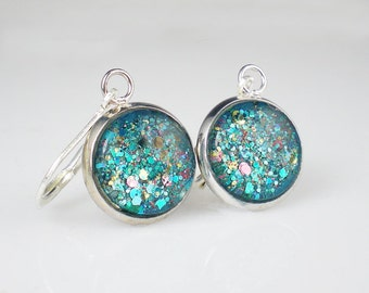 Aqua Turquoise Glitter Nail Polish Earrings Jewelry