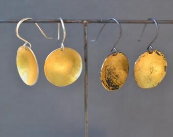 Silver & Gold Disc Earrings- wabi sabi boho earrings, black and gold lunar earrings, gold dipped lightweight earrings, circle earrings