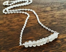 Crystal Quartz bead strand Necklace, Gemstone Bar minimalist necklace, Layering necklace, Delicate Healing Crystal row, Christmas gifts