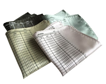 Ledger Paper Pocket Square. Accountant gift, CPA gift, bookkeeper gift, banker gift, tax season. Your choice of colors. Balance sheet paper.