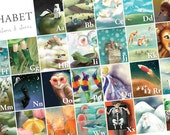 Children's Alphabet Poster - Alphabet Nursery Art Wall art - Alphabet illustration series extra large poster