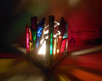 Miniature Edition #5 Triangle Shaped Rainbow Themed Stained Glass Candle Holder Tealights Only! office decor dorm home numerology peace zen