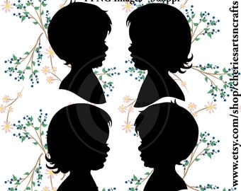 Boy and Girl Silhouettes, Instant Download, PNG Graphic, Children Silhouettes, Little Boy, Little Girl, Cute Clip Art, Children Clip Art