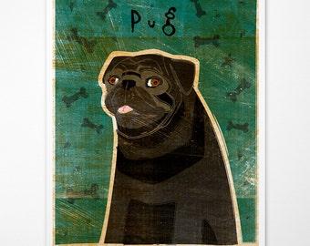 Black Pug Print- Black Pug Gifts- Black Pug Art- Dog Gifts- for Dog Owners Gifts- Black Pug Gift Ideas- Pug Presents- Pet Gifts