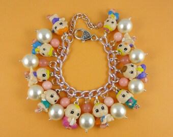 Baby Charm Bracelet - chunky charm bracelet with cute toy babies - baby shower jewelry, new mom gift, Harajuku Decora, kawaii bracelet, fun!