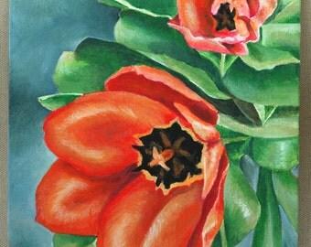 "Red Tulips Original Acrylic Painting 8"" x 10"""