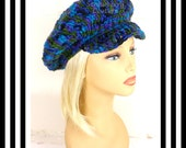 Peacock Crochet Hat Womens Hat, Crochet Newsboy Hat, Brimmed Beanie Hat, Peacock Hat, Crochet Winter Hat, ANNIE Newsboy Hat Womens