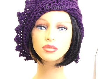 Purple Crochet Hat Womens Hat Trendy, Womens Summer Hat Women, Crochet Beanie Hat, Purple Hat, Cotton Beanie Hat, LAUREN Womens Crochet Hat