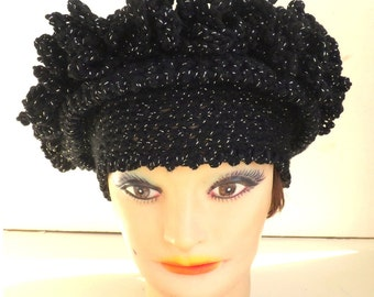 Cloche Hat 1920s Black Crochet Hat Womens Hat, Steampunk Hat, Wide Brimmed Hat African Hat Black Sparkle Black Hat Linda 1920s Cloche Hat