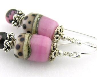 Pink black lampwork rhodonite sterling silver earrings cserpentDesigns polka dots ivory