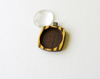 Fine finished marquetry hardwood pendant blank - Walnut and Yellowheart - 30 mm - Brass bail - (F23-WY)