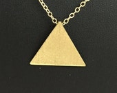 Stevie Nicks Inspired Triangle Pendant, 925 Sterling Silver Pyramid Pendant, Gold Plated Geometric Triangle, Solid 20 gauge, 24K Plate