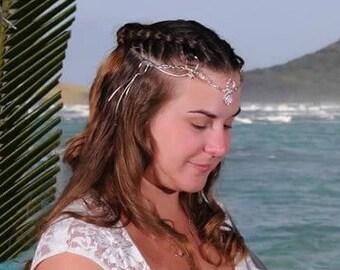Gypsy Renaissance Circlet, Gypsy Wedding Circlet, Gemstone Gypsy Braid Circlet, Handmade Bridal Circlet, Sterling Silver, Handfasting, OOAK