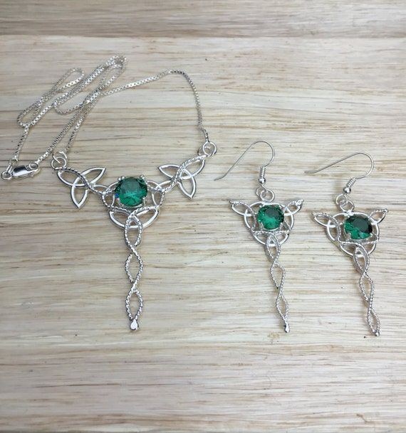 Celtic Trinity Knot Pendant and Earrings  with Faceted Lab Emeralds