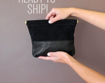 Ready To Ship! Black Suede & Leather Clutch- PETITE, Crossbody Leather Handbag in ; IBIS CLUTCH in Black- Awl Snap