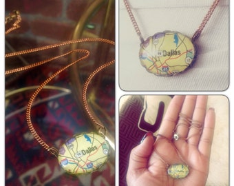 Dallas Texas Map Necklace // collectable vintage style map necklace - Glass oval Map Jewelry
