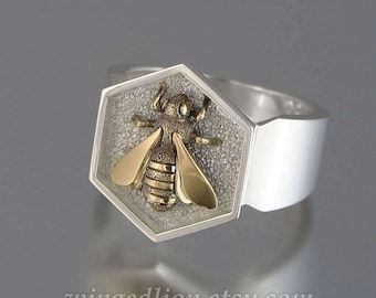 HONEY BEE mens sterling silver and 14k yellow gold unisex ring