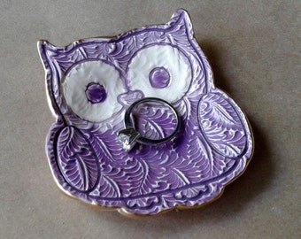 Ceramic Owl Ring Holder Bowl Purple edged in gold