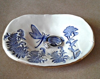 Ceramic Dragonfly Ring Dish Cobalt blue