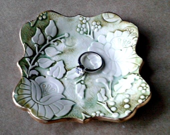 Ceramic Damask trinket bowl moss green edged in gold