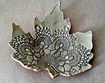 Ceramic Leaf Ring Dish Sage Green with gold edging