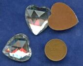 RHINESTONE HEARTS Large Faceted Glass 24 mm x 126 mm (2) Flat Backs Cabochon Vintage Gold Foil Back jc lrghrt