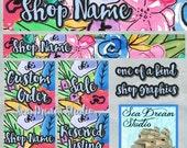 Fun Watercolor Florals Etsy shop Banner and Avatar by Sea Dream Studio  OOAK