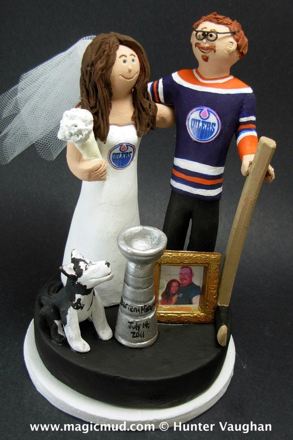 custom hockey wedding cake toppers edmonton oilers hockey wedding cake topper edmonton oilers 13202