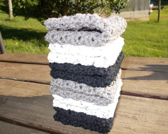 Crochet Dishcloth Wash/Face Cloths set of 6 Black Gray and white mix
