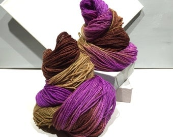 "Sock yarn, fingering weight, handpainted yarn, ""Prairie Sunset"" shawl yarn sock weight, orchid, tan, Brown, violet"
