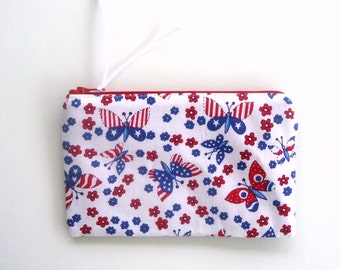 Red, White and Blue Zipper Pouch with Butterflies, ready to ship, Coin purse, Pencil pouch, Makeup bag, perfect for summer