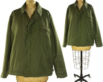 70s US Army Jacket / Vintage 1970s American Military Issue Field Coat / USA / Green Cotton with Wool Lining / Insulated Winter Coat / Large