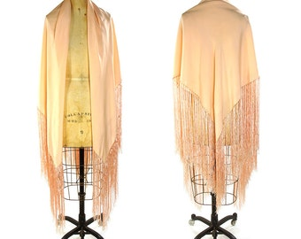 Vintage Flapper Shawl with Piano Fringe / Petal Pink Square Silk  Shawl with Long Fringe Trim / Art Nouveau / Hippie / Boho / Bohemian Gypsy