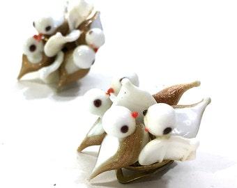 Murano Glass Bird Earrings / Vintage 1950s Italian Art Glass Cluster Earrings / Clip On