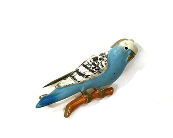 Antique Parakeet Pin / Small Painted Brass Blue Bird Brooch