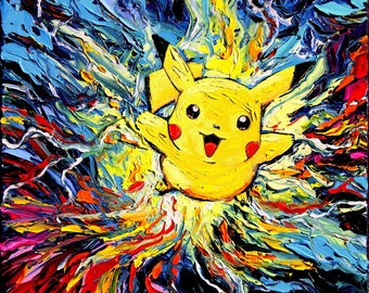 Pikachu Pokemon Art - Starry Night Giclee print van Gogh Never Caught Them All by Aja 8x8, 10x10, 12x12, 20x20, and 24x24 choose size
