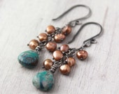 Reserved - Brown Pearls and Turquoise Cascade Earrings Oxidized Silver