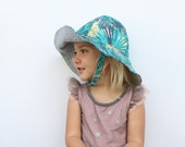 Baby Summer Sun Hat in Tropical Blue Cotton