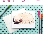 Set of 4 Blank Cards, All Occasion Pug Cards, Note Card Set, Just Because, Thinking of You, Encouragement Card, Pet Sympathy Card,Sorry Card