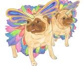 Unicorn Pugs Drawing, Pug Watercolor Illustration, Pug Art Print, Gifts for Girls, Pug Items, Pug Love, Pug Lover, Pug Wall Art,Pug Decor