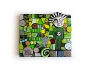 Live Green. (Unique Handmade Original Mixed Media Mosaic by Shawn DuBois)