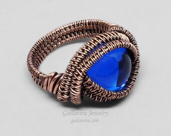 Cobalt Blue Glass and Copper Wire Wrapped Ring