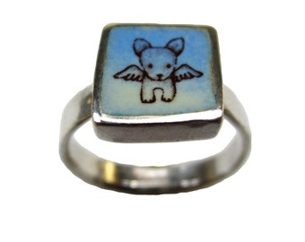 Dog Ring - Sterling Silver and Vitreous Enamel Dog Ring