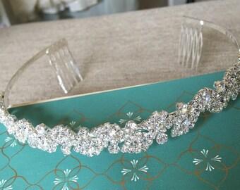 Vintage Style Rhinestone Headpiece.Silver Rhinestone Headband.Bridal Rhinestone Headpiece.Rhinestone Crown.Rhinestone Tiara.Classic Style