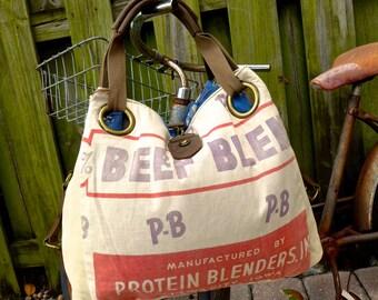SALE PB Protein Blenders - Beef Blend - Iowa City - Open Tote - Americana OOAK Canvas & Leather Tote... Selina Vaughan Studios