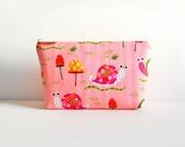 Cosmetic Case Makeup Bag Zipper Pouch Toiletry Storage Pink Tropical Snails Amy Schimler